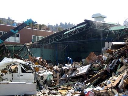 いわき市薄磯地区で津波被害にあった丸又蒲鉾