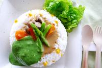 カフェ飯レシピ/2色のまぜまぜグリーンカレー