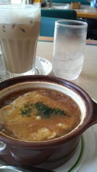 オニオングラタンスープ+カフェラテ